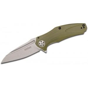 "Kershaw 7007OL Natrix Assisted Flipper Knife 3.25"" Stonewashed Drop Point Blade, Olive G10 Handles on Sale"