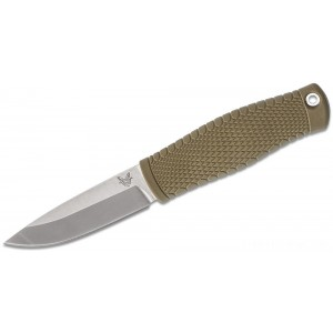 Benchmade 200 Puukko Fixed Blade Knife CPM-3V Satin, OD Green Santoprene Handle, Black Leather Sheath on Sale