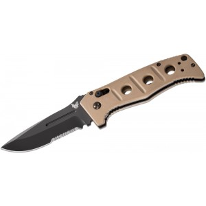 "Benchmade Adamas AUTO Folding Knife 3.82"" Black D2 Combo Blade, Desert Tan G10 Handles - 2750SBKSN on Sale"