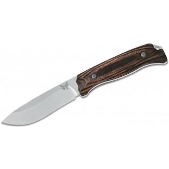 "Benchmade Hunt Saddle Mountain Skinner Fixed 4.17"" S30V Blade, Dymondwood Handles, Leather Sheath - 15001-2 on Sale"