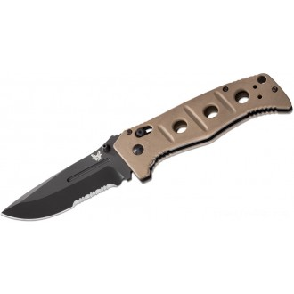 "Benchmade Adamas Folding Knife 3.82"" Black D2 Combo Blade, Desert Tan G10 Handles - 275SBKSN on Sale"