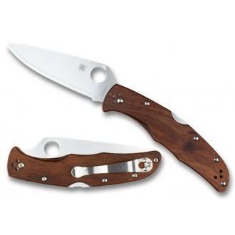 Spyderco Endura 4 Mahogany Pakkawood Plain Edge HAP40/SUS410 Exclusive - Combination Edge/Plain Edge on Sale