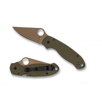 Spyderco Para 3 Green G-10 CTS 204P Flat Dark Earth Exclusive - Combination Edge/Plain Edge on Sale