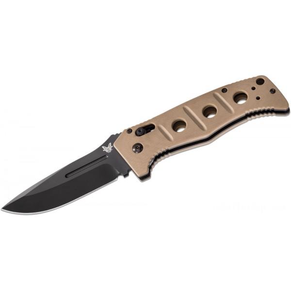 "Benchmade Adamas AUTO Folding Knife 3.82"" Black D2 Plain Blade, Desert Tan G10 Handles - 2750BKSN on Sale"