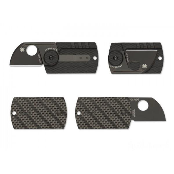 Spyderco Dog Tag Folder CF/G-10 Laminate Black — Plain Edge on Sale